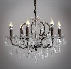 6 light diameter 60cm vintage crystal painting metal chandeliers dining room study room office