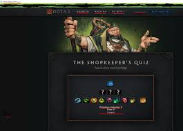 the shopkeeper s quiz on the dota 2 website is in russian while
