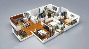 House Plan 3d 2 Bedroom House Plans Designs Small House Plan 3d ...