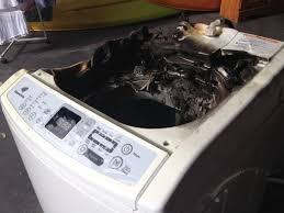 samsung washing machine recall. liz herbert\u0027s samsung washing machine after it caught fire. picture: supplied recall