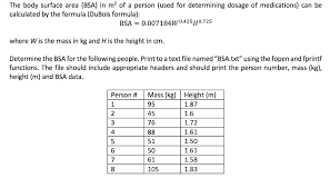 Dubois Body Surface Area Chart Get Answer The Body Surface Area Bsa In M 2 Of A Person