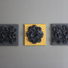 three wall art canvases mustard yellow heather gray and white felt 3d 12x12  on grey and mustard yellow wall art with yellow and white 3d wall art yellow and from ten til joy ten