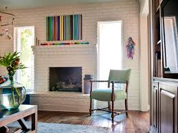 I Bright Colors  Some Kitsch Midcentury Modern Family Room With Painted  Brick Wall