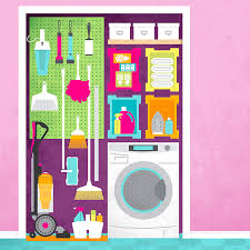 ilrated laundry designed to hold cleaning supplies