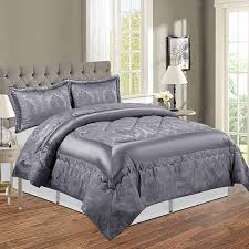 grey bedding set and matching curtains