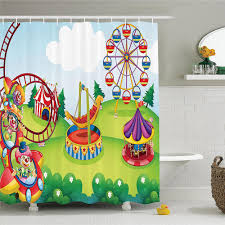 circus decor shower curtain set circus and theme park design carousel amusement excitement trees bathroom accessories
