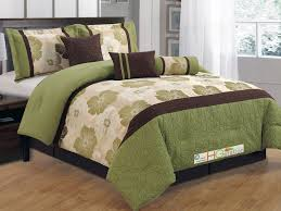 11 pc quilted jacquard flower striped comforter curtain set sage green brown gold beige queen com