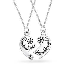 etched grandmother granddaughter split broken heart shape break apart 2 pcs gift oxidized sterling silver necklace 18 in