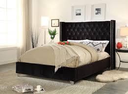 Meridian Furniture Aiden Velvet Queen Bed in Black AidenBlack-Q