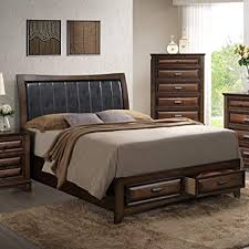 Roundhill Furniture B179K Broval 179 Light Espresso Finish Wood King Size Storage Platform Bed