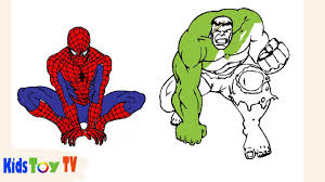 Learn colors, sizes, and the names of marvel superheroes (spiderman, hulk, captain america, and iron man) by transforming mini toys into larger figures using spinners! Spiderman Vs Hulk Coloring Books Spiderman Coloring Pages For Kids Youtube