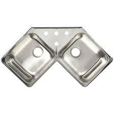 Kitchen Corner Sink Franke Drop In Stainless Steel 43x23x8 4 Hole 20 Gauge Double Bowl