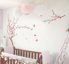 very attractive and feminine homemade cherry blossom wall