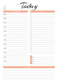hourly agenda daily hourly planner templates
