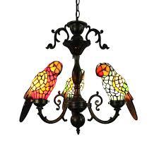 Tiffany Pendelleuchte Papagei Glas Antik Stil 3 Flammig