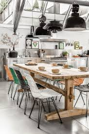 Fresh Dining Room With Industrial Touches And Pops Of Colors