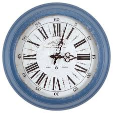 circular iron wall clock in distressed blue frame
