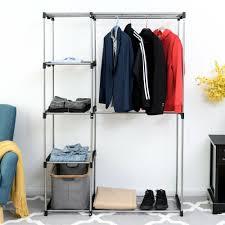 details about closet organizer garment rack home portable clothes hanger storage rack shelf