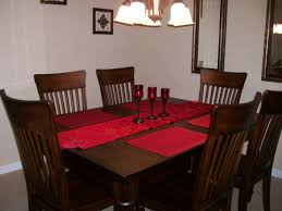 Red dining table set Paint Amusing Decorating Ideas Using Rectangular Brown Wooden Tables Sibbhome Amusing Decorating Ideas Using Rectangular Brown Wooden Tables And