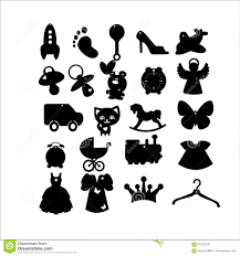 Le Icone Dei Bambini In Bianco E Nero Illustrazione Vettoriale
