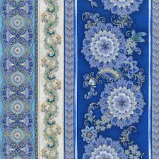 Timeless Treasures Hi <b>Fashion</b> Regency Blue <b>Floral Stripe</b> | Quilt ...
