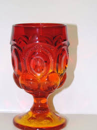 6 amberina goblets moon and stars pattern footed stemmed l e smith glass company vintage 1950 s 1960 s