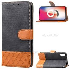 contrast color jeans cloth rhombus leather wallet folio case for iphone xs max 6 5 inch