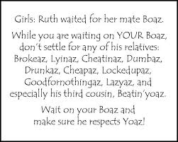 Funny. Christian girls... ruth waited for Boaz | Christian funny ... via Relatably.com
