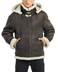 dark brown leather er jacket with sheepskin interior for men