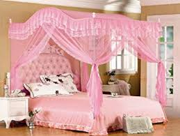 Amazon.com: Pink Arched Four Corner Square Princess Bed Canopy ...