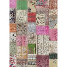 ruggable washable patchwork boho multi color 5 ft x 7 ft stain resistant