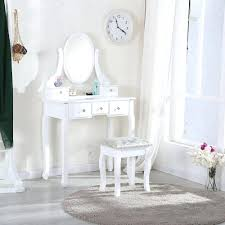 makeup desk chair white dressing table with stool 5 drawers and oval mirror bedroom