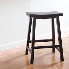 24 Inch Bar Stools With Saddle Seat Bar Stool In Black And Wood Flooring  Plus Wooden Stool For Kitchen Design