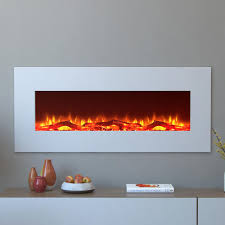 electric wall mounted fireplace in white