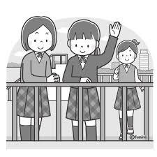 屋上で手を振る女子学生のイラストモノクロ 子供と動物のイラスト屋