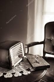 vintage radio on round table stock photo