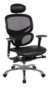 Wave Ergonomic mesh office chair with leather seat and leather ...