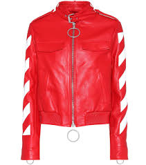 off white printed leather jacket red women