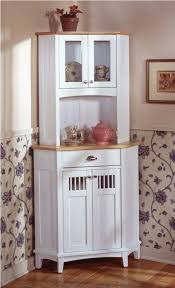 best corner styled white hutch cabinet with nice wallpaper and beige paint color for cool classic kitchen ideas