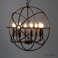 industrial led orb chandelier in black with globe cage 8 light