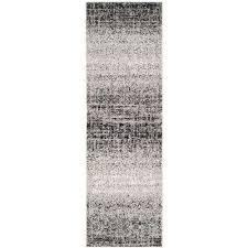 adirondack silver black 3 ft x 22 ft runner rug
