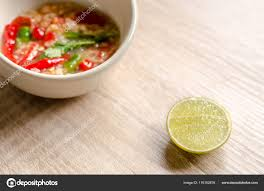 Thai spicy seafood dipping sauce on ...