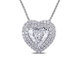 1 3 8 ct tw double halo heart diamond pendant with chain in 14k white gold