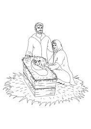 Kleurplaat Kerst Kleurplaten Jesus In De Kribbe Met Josef En Maria