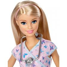 barbie nurse doll with blonde hair purple scrubs stethoscope walmart