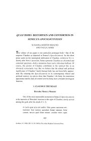 """QUASI HOMO: DISTORTION AND CONTORTION IN SENECA'S """"APOCOLOCYNTOSIS"""""""