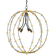 anomaly orb chandelier in an antique gold finish crystal 4 light black iron and leaf finishes