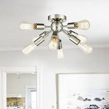 claxy ecopower brushed nickel sputnik chandelier with 8 socket flush mount ceiling light