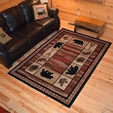 southwestern area southwestern area western style rugs rustic lodge bear border cabin red black area rug
