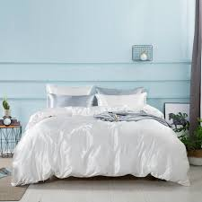 details about luxurious silk duvet cover with pillow case quilt cover bedding set king queen
